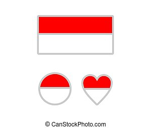 lobogó, vektor, ábra, háttér, indonézia, fehér