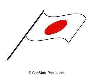 lobogó, vektor, háttér, elszigetelt, fehér, lenget, tervezés, egyszerű, japán