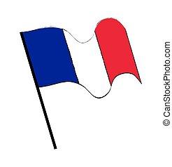 lobogó, vektor, háttér, elszigetelt, fehér, lenget, tervezés, franciaország