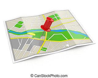 location., térkép, concept., gps, thumbtack.