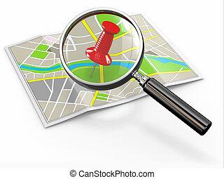 location., talál, rajzszeg, lupe, térkép