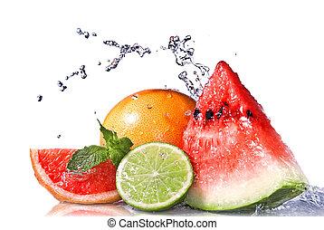 loccsanás, friss, elszigetelt, fehér, gyümölcs, víz