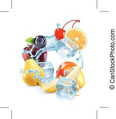 loccsanás, jégkockák, multifruit, víz