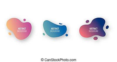 loccsanás, modern, elements., állhatatos, design., vektor, alakzat, szín, kivonat alakzat, folyékony, grafikus, cseppfolyós, gradiens