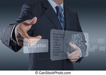 logisztika, ábra, fogalom, látszik, üzletember