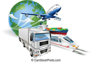 logisztika, fogalom, globális, kiképez, csereüzlet, repülőgép, hajó