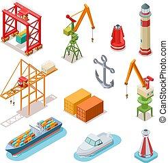 logisztika, isometric, állhatatos, tenger rév, tengeri, tengeri kikötő, végső, vektor, ships., hajózás, bárka, tengeri, hajó, daru, szállít, 3