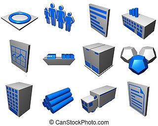 logisztika, kék, lánc, ikonok, eljárás, beszerzés, ábra, szürke