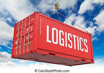 logisztika, rakomány, container., -, függő, piros