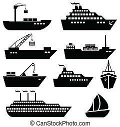 logisztika, rakomány, ikonok, hajózás, hajó, csónakázik