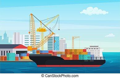 logisztika, rakomány, ipari, konténer, illustration., szállítás, kikötő, hajózás, ship., vektor, csereüzlet, cranes., udvar, rév