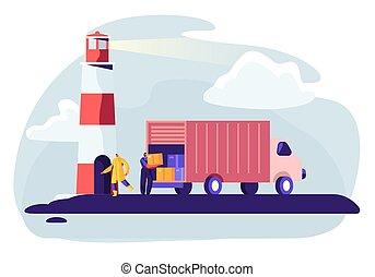 logisztika, rakomány, ipari, konténer, szállítás, lakás, kikötő, vektor, yard., tengeri, logistic., teljes iparág, export, ábra, hajózás, import, hajó, truck., karikatúra