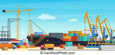 logisztika, rakomány, ipari, konténer, transportationt, kikötő, iparág, yard., hajózás, vektor, export, import, szállítás, hajó, daru, illustration.