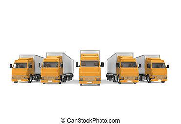 logisztika, series., csillék, orange., rész, raktárépület