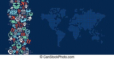 logisztika, térkép, illustration., ikonok, hajózás, loccsanás, világ