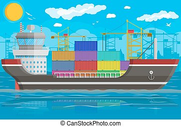 logisztika, teherárú tároló, hajó, crane., rév