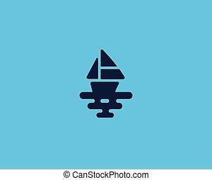 logotype., kreatív, vektor, tenger, jel, hajó, csónakázik