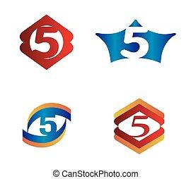 logotype, logo., szám, vektor, 5