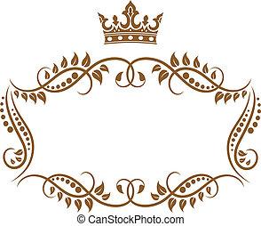 lombkorona keret, királyi, középkori, finom