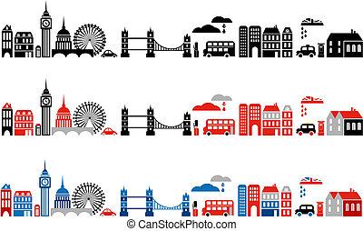 london, ábra, város, vektor