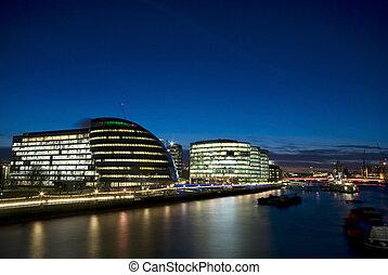 london, város, thames), sunset.(city, folyó, előszoba