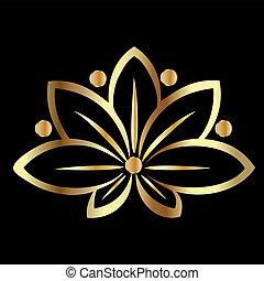 lotus virág, arany
