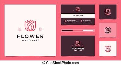 lotus virág, kártya, lineáris, jel, ügy, szépség, tervezés