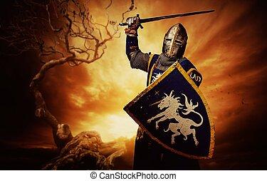 lovag, felett, középkori, viharos, sky.