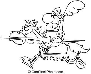 lovag, körvonalazott, ló elnyomott