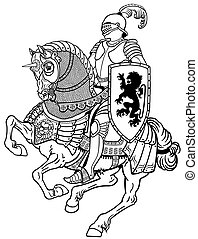 lovag, ló, fehér, fekete, középkori