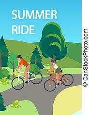 lovaglás, bicycle., birtoklás, ember, móka, sport woman