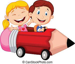lovaglás, boldog, penci, karikatúra, gyerekek