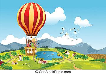 lovaglás, csípős, gyerekek, balloon, levegő
