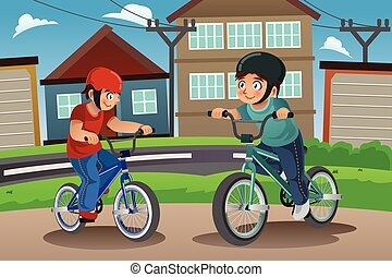 lovaglás, gyerekek, bicikli