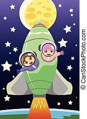 lovaglás, gyerekek, rakéta