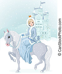 lovaglás, hercegnő, tél, ló