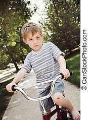 lovaglás, károk, fiú, bicikli, fiatal