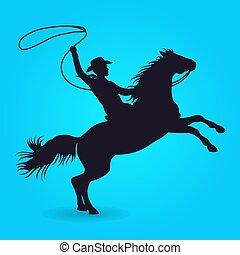 lovaglás, ló, lasszó, árnykép, cowboy