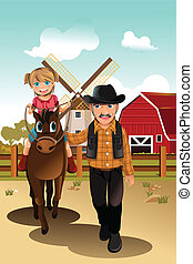 lovaglás, leány, ló, nagyapa