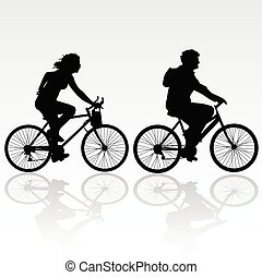 lovaglás, nő, bicikli, ember