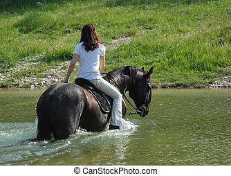 lovaglás, nő, folyó
