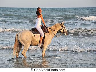 lovaglás, nő, tenger