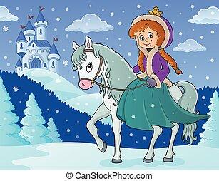 lovaglás, tél, 2, ló, hercegnő