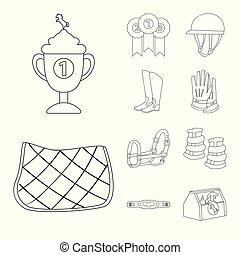 lovaglási, ló, jelkép., vektor, gyűjtés, tervezés, részvény, lóháton, illustration.
