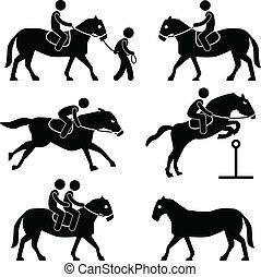 lovaglási, lovaglás, csal, ló