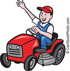 lovagol, farmer, traktor, vezetés, kaszáló