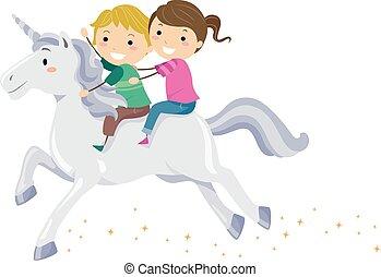 lovagol, gyerekek, stickman, egyszarvú