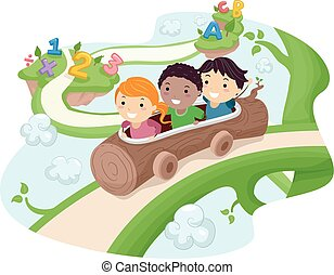 lovagol, gyerekek, stickman, fahasáb