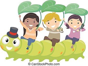 lovagol, gyerekek, stickman, hernyó, kert