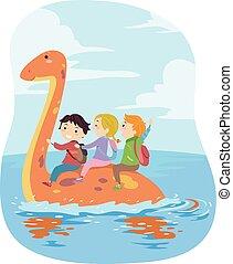 lovagol, gyerekek, stickman, plesiosaur